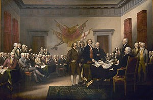 John Trumbull's Declaration of Independence, showing the five-man committee in charge of drafting the Declaration in 1776 as it presents its work to the Second Continental Congress in Philadelphia (Wikipedia)